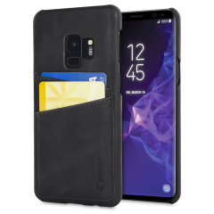 Krusell's 2 Card Sunne Wallet cover in vintage black combines Nordic chic with Krusell's values of sustainable manufacturing for the socially-aware Galaxy S9 owner who wants an elegant genuine leather accessory with extra storage for cash and cards.