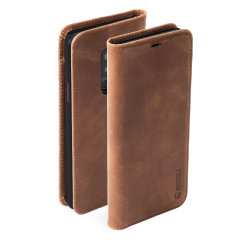 Krusell's 2 Card Sunne Folio Wallet leather case in vintage cognac combines Nordic chic with Krusell's values of sustainable manufacturing for the socially-aware Galaxy S9 Plus owner who seeks for a 360° protection with extra storage for cash and cards.