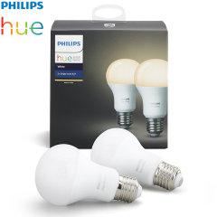 Official Philips Hue Wireless Lighting White LED Bulb E27 - Twin Pack