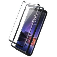Keep your Samsung Galaxy S9's screen in pristine condition with this Olixar Tempered Glass screen protector, designed for full coverage of your phone's screen. This design leaves space for a case and comes with an install tool for perfect alignment.