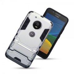 Schützen Sie Ihr Motorola Moto G5 vor Stößen und Kratzern mit dieser silbernen Doppelschichtigen Hülle. Bestehend aus einem inneren TPU-Abschnitt und einem äußeren schlagfesten Exoskelett, mit einem eingebauten Sichtständer.