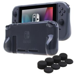 Custom moulded for the Nintendo Switch, this black gel case provides slim fitting and durable protection against damage, while the included thumb grips enhance grip and protect your thumb sticks from wear and tear.