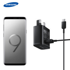 A genuine Samsung UK adaptive fast mains charger for your USB-C Samsung Galaxy S9 Plus phone.  With folding pins for travel convenience and a genuine Samsung USB-C charging cable. Retail packed.