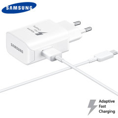 A genuine Samsung EU adaptive fast mains charger for your Samsung Galaxy S9. You can charge any compatible device at super fast speeds. Includes a genuine Samsung USB-C cable.