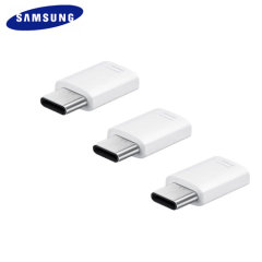 Official Galaxy S9 Micro USB to USB-C Adapter Triple Pack - White