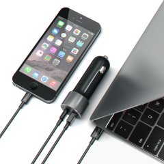 Satechi 2 Port 48W USB-C & USB Fast Charge Car Charger - Space Grey