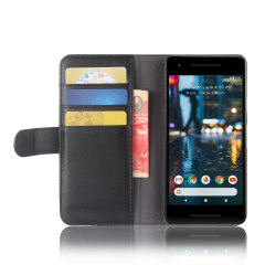 Google Pixel 2 Genuine Leather Wallet Case - Black