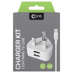 Charge your Apple devices quickly and conveniently with this 2.4A high total power output, Core dual port UK charging kit. The bundle includes a dual port charger, as well as Core Lightning to USB cable. The included cable supports both charge and sync.