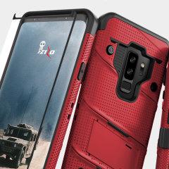 Zizo Bolt Series Samsung Galaxy S9 Plus Tough Case & Belt Clip - Red