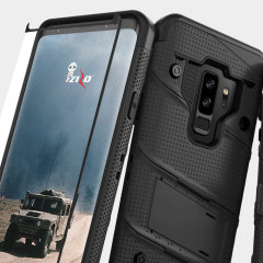 Equip your Samsung Galaxy S9 Plus with military grade protection and superb functionality with the ultra-rugged Bolt case in black from Zizo. Coming complete with a tempered glass screen protector and a handy belt clip / kickstand.