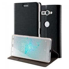 Roxfit Sony Xperia XZ2 Compact Slim Standing Book Case - Black/Silver