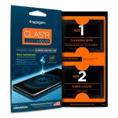 Spigen GLAS.tR screen protection kit uses a nano-hydrophobic coating technology to create an invisible layer that protects the coated surfaces of your phones and tablets from dirt, oil, dust, and superficial scratching. Enjoy crystal clarity at all times.