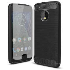 Motorola Moto G5 Rugged Case w/ Glass Screen Protector - Carbon Fibre