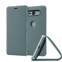This high quality official bi-fold SCSH50 folio case from Sony houses your Xperia XZ2 Compact smartphone, providing protection and access to your ports and features while incorporating a built-in viewing stand - in green.