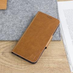 Olixar Leather-Style Motorola Moto G6 Wallet Stand Case - Tan