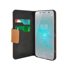 The Olixar leather-style Sony Xperia XZ2 Compact Wallet Stand Case in tan provides enclosed protection and can also be used to hold your credit cards. The case also transforms into a viewing stand for added convenience.