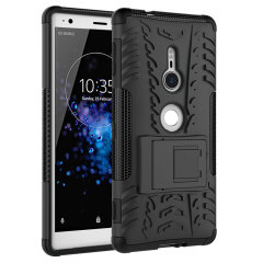 Protect your Sony Xperia XZ2 from bumps and scrapes with this black ArmourDillo case. Comprised of an inner TPU case and an outer impact-resistant exoskeleton, with a built-in viewing stand.
