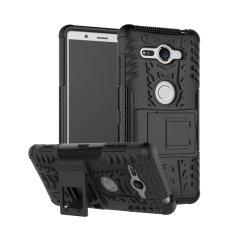 Bescherm je Sony Xperia XZ2 Compact tegen stoten en krassen met deze ArmourDillo-hoes van Olixar. Bestaat uit een innerlijke TPU-behuizing en een buitenste slagvast exoskelet, met een ingebouwde kijkstandaard.