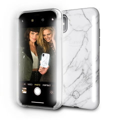 LuMee Duo iPhone X Double-Sided Lighting Case - White Marble