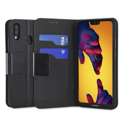 Olixar Leather-Style Huawei P20 Lite Wallet Stand Case - Black