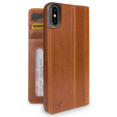 Twelve South Journal iPhone X Genuine Leather Wallet Case - Cognac