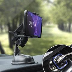 Das Pack enthält wesentliche Elemente, die Sie für Ihr Handy während einer Autofahrt benötigen. Ausgestattet mit einem robusten Autohalterung und einem Autoladegerät mit zusätzlichen USB-Port für Ihr Samsung Galaxy S9 Plus.