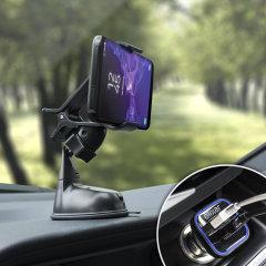 Das Pack enthält wesentliche Elemente, die Sie für Ihr Handy während einer Autofahrt benötigen. Ausgestattet mit einem robusten Autohalterung und einem Autoladegerät mit zusätzlichen USB-Port für Ihr Samsung Galaxy S9