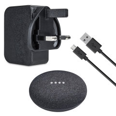 Power your Google Home Mini with this compatible UK charging kit in charcoal black. Featuring a mains power adapter and 2 metre Micro USB cable.