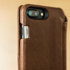 Vaja Wallet Agenda iPhone 8 Plus Premium Leather Case - Dark Brown