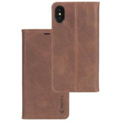 Krusell Sunne 4 Card iPhone X Folio Wallet Case - Vintage Cognac