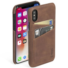 Krusell Sunne 2 Card iPhone X Leather Case - Vintage Cognac
