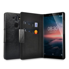 Protect your Nokia 8 Sirocco with this durable and stylish black leather-style wallet case by Olixar. What's more, this case transforms into a handy stand to view media.
