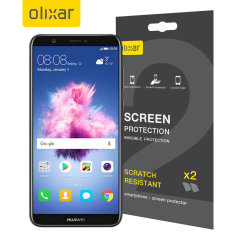 Keep your Huawei P Smart 2018's screen in pristine condition with this Olixar scratch-resistant screen protector 2-in-1 pack.
