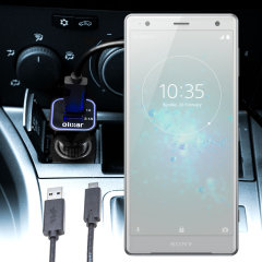 Keep your Sony Xperia XZ2 fully charged on the road with this compatible Olixar high power dual USB 3.1A Car Charger with an included high quality USB to USB-C charging cable.