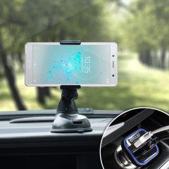 Viktiga biltillbehör som du kommer behöva för din smartphone under en bil resa. Med Olixars DriveTime In-Car Pack får du en bilhållareoch billaddare med en extra USB-port för din Xperia XZ2 Compact.