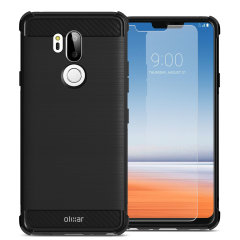 Flexible rugged casing with a premium matte finish non-slip carbon fibre and brushed metal design, the Olixar Sentinel case in black keeps your LG G7 ThinQ protected from 360 degrees with the added bonus of a tempered glass screen protector.