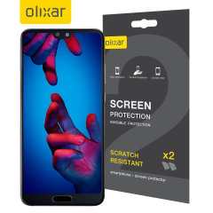 Keep your Huawei P20's screen in pristine condition with this Olixar scratch-resistant screen protector 2-in-1 pack.