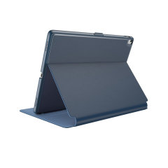 "Provide sophisticated and elegant protection for your Apple iPad 9.7 2018 with the StyleFolio case in a stylish ""Marine Blue / Twilight Blue"" design from Speck. Complete with a multi-angle viewing stand and secure closure system."