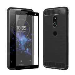 Flexible rugged casing with a premium matte finish non-slip carbon fibre and brushed metal design, the Olixar Sentinel case in black keeps your Sony Xperia XZ2 protected from 360 degrees with the added bonus of a tempered glass screen protector.