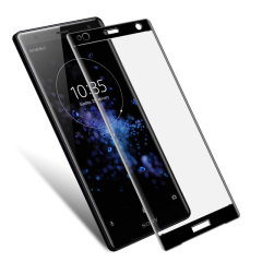 This ultra-thin tempered glass full cover screen protector for the Sony Xperia XZ2 from Olixar with black front offers toughness, high visibility and sensitivity all in one package.