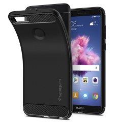 Treffen Sie die neu gestaltete robuste Hülle für das Huawei P Smart aus flexiblen, robusten TPU und mit einer mechanischen Konstruktion, einschließlich einer Kohlenstofffaserbeschaffenheit, die Ihr Handy sicher und schlank hält bon Spigen.