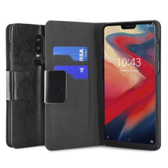 The Olixar leather-style OnePlus 6 Wallet Case in black attaches to the back of your phone to provide superb enclosed protection and can also be used to hold your credit cards. So you can leave your other wallet home as this case has it all covered.