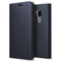 VRS Design Genuine Leather Diary LG G7 Wallet Case - Navy