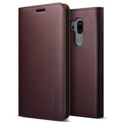 VRS Design Genuine Leather Diary LG G7 Wallet Case - Wine