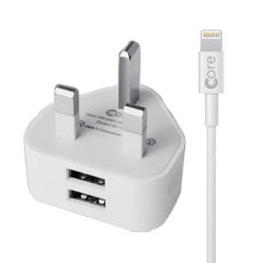 Charge your iPad quickly and conveniently with this 2.4A high total power output, Core dual port UK charging kit. The bundle includes a dual port charger, as well as Core Lightning to USB cable. The included cable supports both charge and sync.