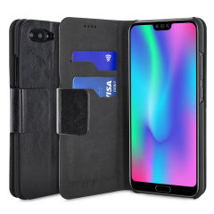 The Olixar Wallet Case in black for the Huawei Honor 10 provides enclosed protection, a sophisticated leather-style look and can also be used to hold your credit cards. The inner hard shell holds your device securely in place, keeping your Honor 10 safe.