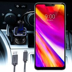 Laden Sie Ihr Micro-USB-Gerät unterwegs auf, mit diesem Hochleistungs 2.4A LG G7 Kfz-Ladegerät mit ausziehbarem Spiralkabel-Design