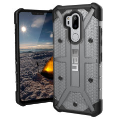 The Urban Armour Gear Plasma semi-transparent tough case in Ice white and black for the LG G7 ThinQ features a protective case with a brushed metal UAG logo insert for an amazing rugged and stylish design.