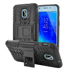 Protect your Samsung Galaxy J3 2018 from bumps and scrapes with this black ArmourDillo case from Olixar. Comprised of an inner TPU case and an outer impact-resistant exoskeleton, with a built-in viewing stand.