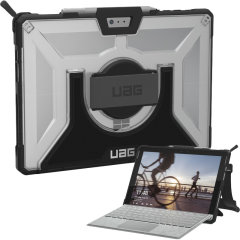 The UAG Plasma semi-transparent tough case in ice for the Microsoft Surface Pro 4 provides the ultimate level of protection for your Surface Pro while remaining stylish. Featuring a rotating hand strap, shoulder strap and retractable stand.